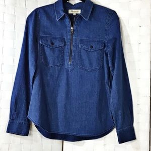 Madewell Denim Zippered Blouse In Small
